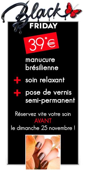 1 manucure brésilienne + 1 massage relaxant des mains + 1 pose de vernis semi-permanent = 39 euros au lieu de 85 euros
